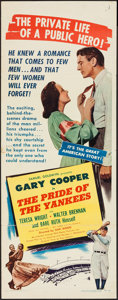 """Movie Posters:Sports, The Pride of the Yankees (RKO, R-1949). Insert (14"""" X 36""""). Sports.. ..."""