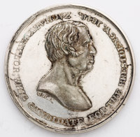 Zachary Taylor: Scarce large silver dollar-sized 39 mm 1848 campaign medal, 1848-8 in Sullivan. White metal. Beautiful v...