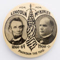 """Political:Pinback Buttons (1896-present), McKinley with Lincoln: """"Maintain the Flag."""" A great 1½"""" design, and very hard to find in this beautiful condition.. ..."""