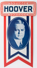 "Political:Ferrotypes / Photo Badges (pre-1896), Herbert Hoover: Giant 3½"" tall celluloid in vivid red, white andblue. Choice condition with great display appeal...."