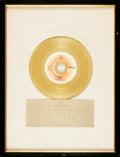 Books:Furniture & Accessories, [Gold Records]. Commemorative Record Presented to Rod McKuen fromBob Crewe for Jean by Oliver, from the Film ...