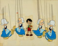 Animation Art:Production Cel, Pinocchio Pinocchio and Dutch Marionette Maids Production Cel Setup (Walt Disney, 1940)....