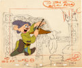 Animation Art:Production Cel, Snow White and the Seven Dwarfs Dopey Production Cel andBackground Drawing (Walt Disney, 1937).... (Total: 2 Original Art)