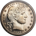 Proof Barber Quarters, 1908 25C PR67 Cameo PCGS....