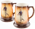 Football Collectibles:Others, Beautiful C. 1900 Football Player Pair of Porcelain Steins. ...