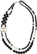 "Luxury Accessories:Accessories, Chanel Black & White Glass Pearl CC Necklace. ExcellentCondition. 1.5"" Width x 60"" Length. ..."