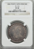 Early Half Dollars, 1806 50C Pointed 6, Stem, O-116, T-20, R.3, VF30 NGC. NGC Census:(2/18). PCGS Population (3/4). ...