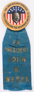 Political:Ribbons & Badges, John W. Weeks Campaign Button....