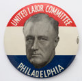"""Political:Pinback Buttons (1896-present), Franklin D. Roosevelt: Colorful red, white and blue 3½"""" """"Labor Committee"""" variety in super condition. This sometimes comes s..."""