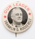 """Political:Pinback Buttons (1896-present), Franklin D. Roosevelt: Imposing large 2¼"""" button from the 1944 re-election campaign. Compared to previous FDR runs, there we..."""