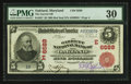 National Bank Notes:Maryland, Oakland, MD - $5 1902 Red Seal Fr. 587 The Garrett NB Ch. #(E)6588. ...