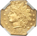 California Fractional Gold , 1872 25C Indian Ocatagonal 25 Cents, BG-791, R.3 MS66 NGC. NGCCensus: (3/2). PCGS Population (4/0). ...