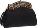 """Luxury Accessories:Bags, Judith Leiber Black Karung Evening Bag. Very Good to ExcellentCondition. 8.5"""" Width x 6"""" Height x 2"""" Depth. ..."""