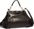 """Luxury Accessories:Bags, Kieselstein Cord Matte Brown Alligator Top Handle Bag with GoldHardware. Good Condition. 17"""" Width x 8"""" Height x4.5""""..."""