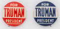Political:Pinback Buttons (1896-present), Harry S. Truman: Scarce 7/8-inch word pin in two colors, both in great shape.. ... (Total: 2 Items)