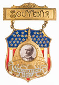 Political:Ferrotypes / Photo Badges (pre-1896), William McKinley: Flashy enameled brass 1897 Inaugural badge withoriginal paper photo. Excellent condition and rarely seen ...