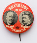 Political:Pinback Buttons (1896-present), Debs & Seidel: 1912-dated 7/8-inch design, the most affordable jugate for the Socialist candidates. Fine shape.. ...