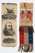 Political:Ribbons & Badges, Benjamin Harrison: Two 1888 Campaign Ribbons.... (Total: 2 Items)