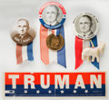 """Political:Pinback Buttons (1896-present), Harry S. Truman: Three very nice 1¾"""" buttons and a decal for this president, always a collector favorite.. ... (Total: 4 Items)"""