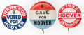 """Political:Pinback Buttons (1896-present), Herbert Hoover: Three """"better"""" 7/8-inch varieties, all in excellent condition.. ... (Total: 3 Items)"""