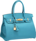 "Luxury Accessories:Bags, Hermes 30cm Turquoise Togo Leather Birkin Bag with Gold Hardware. Pristine Condition. 12"" Width x 8"" Height x 6"" Depth..."