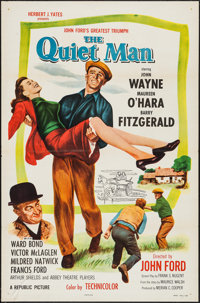 "The Quiet Man (Republic, R-1957). One Sheet (27"" X 41"") Flat Folded. Drama"