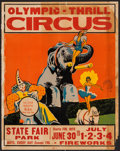 """Movie Posters:Miscellaneous, Olympic-Thrill Circus (Jim Williams, 1940s). Jumbo Window Card (22""""X 28""""). Miscellaneous.. ..."""