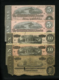 Confederate Notes:1864 Issues, T67 $20 1864 AG. T68 $10 1864 Fine. T68 $10 1864 VF. T69 $5 1864 Two Consecutive Examples AU.. ... (Total: 5 notes)