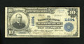 National Bank Notes:Virginia, Harrisonburg, VA - $10 1902 Plain Back Fr. 633 The NB Ch. # 11694.Even wear adorns this $10 with printed signatures of...