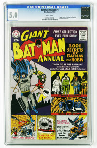 Batman Annual #1 (DC, 1961) CGC VG/FN 5.0 White pages. Artists include Dick Sprang and Curt Swan. Overstreet 2005 VG 4.0...
