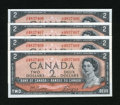 Canadian Currency: , BC-38a $2 1954 Four Consecutive Examples.. ... (Total: 4 notes)