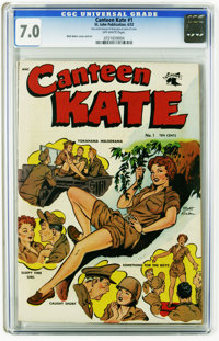 "Canteen Kate #1 (St. John, 1952) CGC FN/VF 7.0 Off-white pages. Matt Baker cover and art. CGC notes, ""Very small am..."