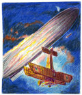 "Original Comic Art:Sketches, George Evans - Sopwith Camel vs. Zeppelin ""L"" Type Color Sketch Original Art (1991). This small (approximately 7"" x 8.25"") c..."