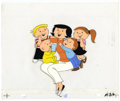 Original Comic Art:Miscellaneous, The Family Circus Animation Production Drawing and Hand Painted CelOriginal Art (undated). Mommy, Dolly, PJ, Billy, and Jef...
