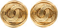 "Luxury Accessories:Accessories, Chanel Gold CC Earrings. Very Good Condition. 1"" Width x1"" Length. ..."