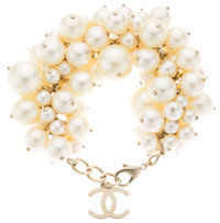 Chanel Glass Pearl Oversize Cluster Bracelet with Gold Hardware Very Good to Excellent Condition