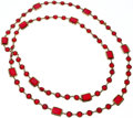 "Luxury Accessories:Accessories, Chanel Red Crystal & Gold Sautoir Necklace. Very Good toExcellent Condition. 60"" Length . ..."