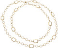 "Luxury Accessories:Accessories, Chanel Clear Crystal & Gold Sautoir Necklace. Very GoodCondition. .5"" Width x 54"" Length. ..."