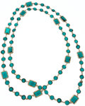 "Luxury Accessories:Accessories, Chanel Teal Crystal & Gold Sautoir Necklace. Very Good toExcellent Condition. 60"" Length. ..."