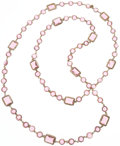 """Luxury Accessories:Accessories, Chanel Pink Crystal & Gold Sautoir Necklace. Good to VeryGood Condition. .5"""" Width x 60"""" Length. ..."""