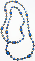 """Luxury Accessories:Accessories, Chanel Blue Crystal & Gold Sautoir Necklace. Excellent Condition. 60"""" Length. ..."""