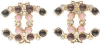 "Chanel Colored Glass & Silver Crystal CC Earrings Very Good to Excellent condition .5"" Width x .5"
