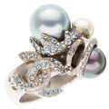 Luxury Accessories:Accessories, Chanel Silver, Glass Pearl, & Silver Crystal Ring. Very Good Condition. Size 6.5. ...