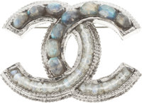 "Chanel Colored Glass & Gunmetal CC Brooch Excellent Condition 2"" Width"