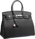 "Luxury Accessories:Bags, Hermes 35cm Black Togo Leather Birkin Bag with Palladium Hardware.Pristine Condition. 14"" Width x 10"" Height x 7"" Depth..."