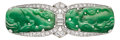Estate Jewelry:Brooches - Pins, Art Deco Jadeite Jade, Diamond, Platinum Brooch. ...