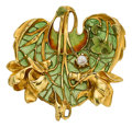 Estate Jewelry:Pendants and Lockets, Art Nouveau Plique-à-Jour Enamel, Pearl, Gold Pendant, LucienGautrait. ...