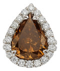 Estate Jewelry:Rings, Fancy Dark Yellowish-Brown Diamond, Diamond, White Gold Ring. ...