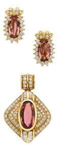 Estate Jewelry:Suites, Topaz, Diamond, Gold Jewelry Suite. ...