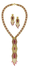 Estate Jewelry:Suites, Pink Tourmaline, Gold Jewelry Suite. ...